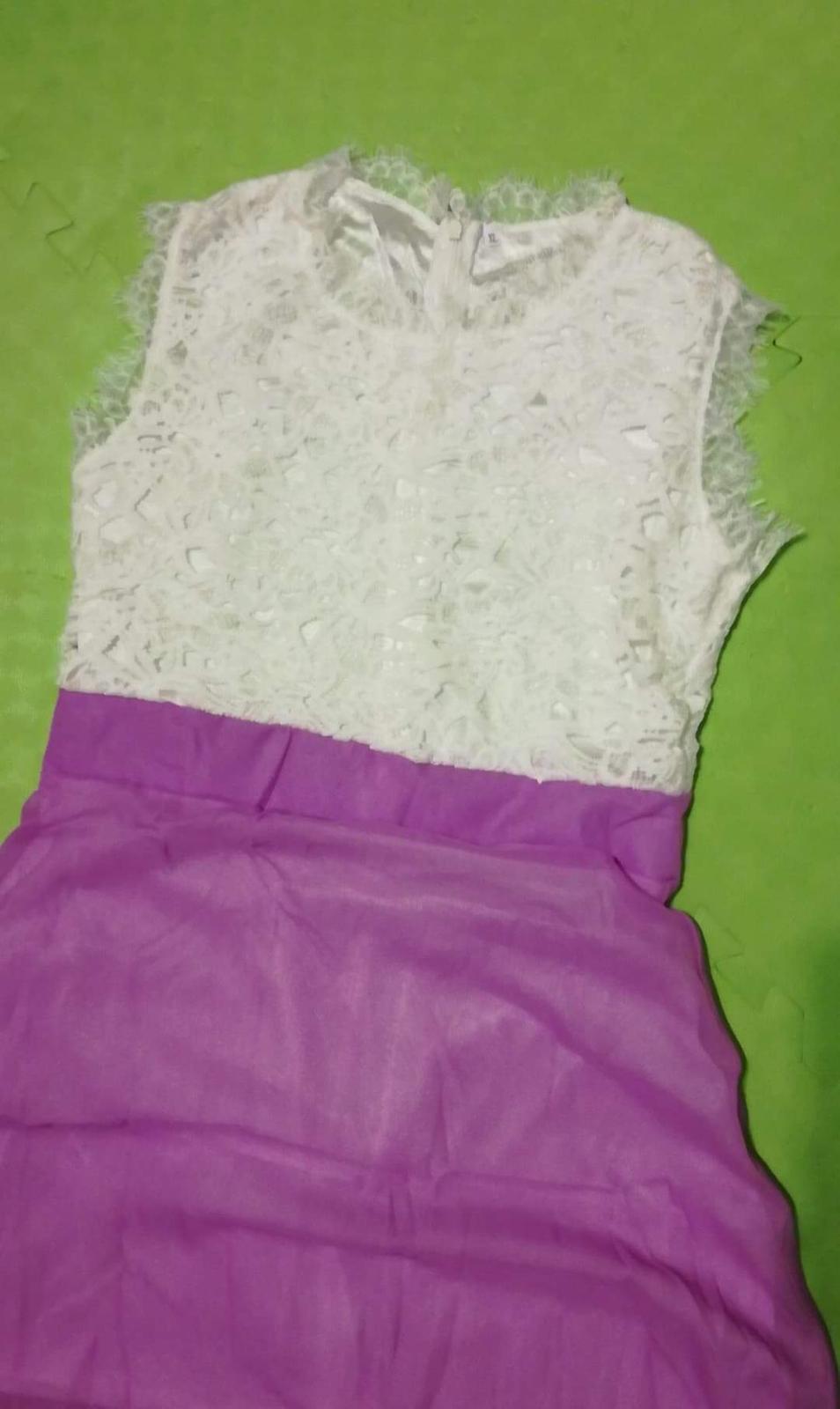 Cipkovane cyklamenové šaty M - Obrázok č. 2