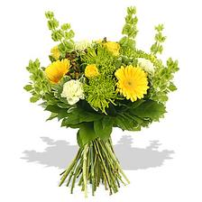 yellow gerbera and roses complimented by brown hypericum and green shamrock; all hugged with pittosporum and salal