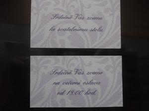 Pozvánky na hostinu a na večerní oslavu
