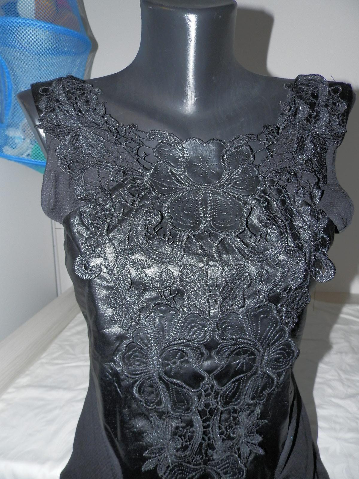 Moderné sexi čierne šaty s čipkou a koženkou - Obrázok č. 2