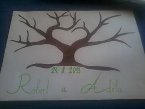 svatební strom, moje výroba :) razítkovací barva i polštářek nachystány k tomu :)