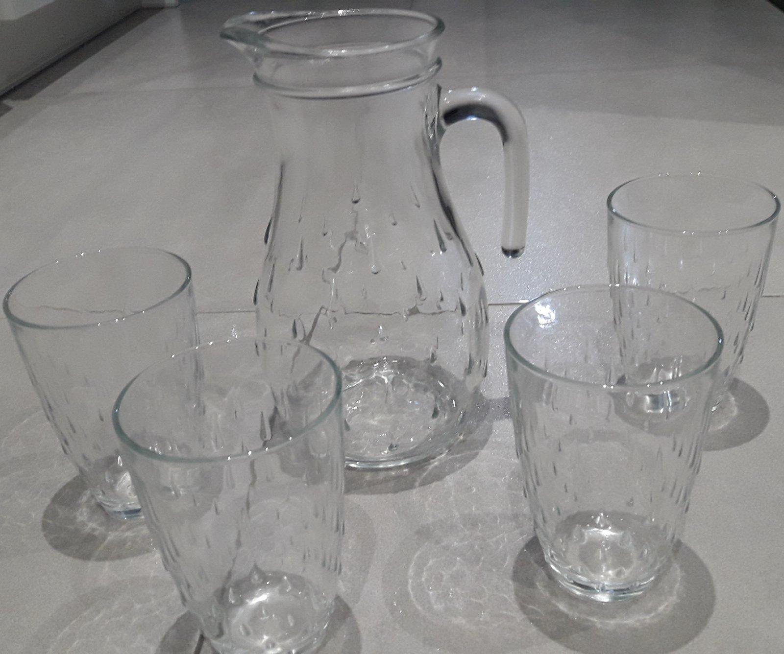 Sklenený ďžbán a poháre na víno alebo vodu - Obrázok č. 1