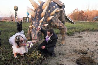 Svatební kytice není zrovna nejlepší jídlo pro dinosaura :)