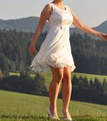 Svadobné šaty s bolerkom- krátke- smotanová farba, 38