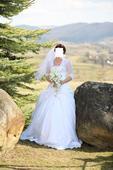 svadobne šaty, bolerko, kruhova spodnica, lodicky, 34