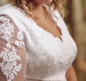 Jemné svatební boho šaty s krajkou, 46