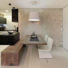 tohle je jídelní stůl, ale jde mi o tu zeď  - imitace betonu ;-)