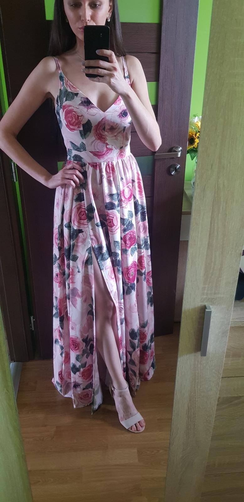 Spoločenské kvetované šaty 34/XS - Obrázok č. 1