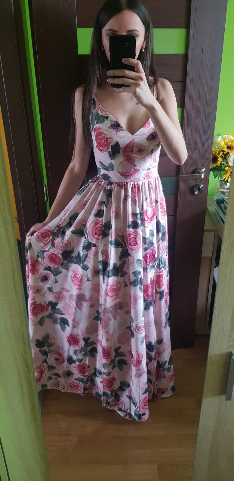 Spoločenské kvetované šaty 34/XS - Obrázok č. 2