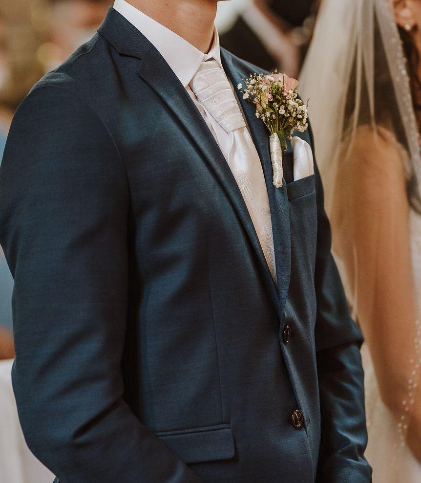 Biela svadobná kravata Sedryk Le Blanc s vreckovkou - Obrázok č. 4