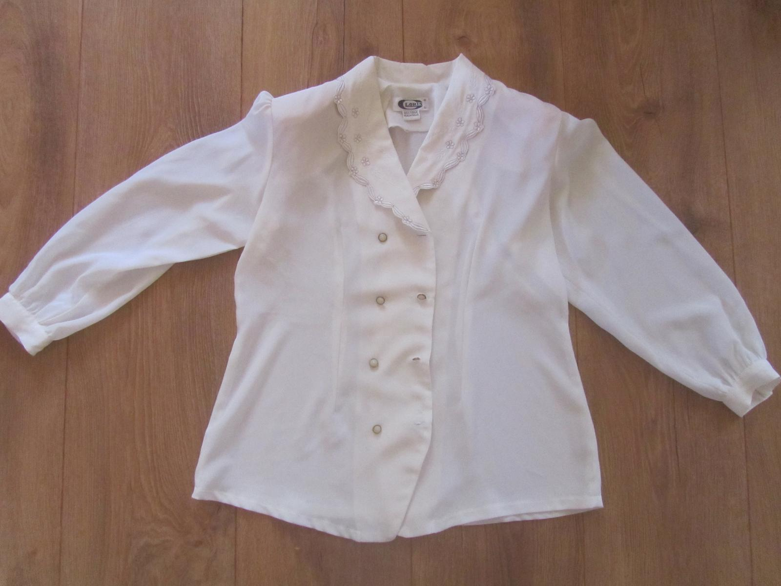 Biela bluzka s vysivanym golierom L - Obrázok č. 1
