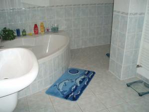Pohľad od dverí, ako keby WC ani nebolo súčasťou kúpeľne. Je nenápadne schované.