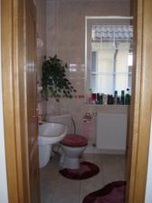 Dolná kúpeľňa. Vedľa dverí je sprchový kút a výklenok na kotol a pračku.
