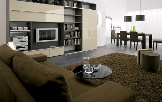 Obývací pokoj - Knihovnicka vychazela z teto obyvaci steny...