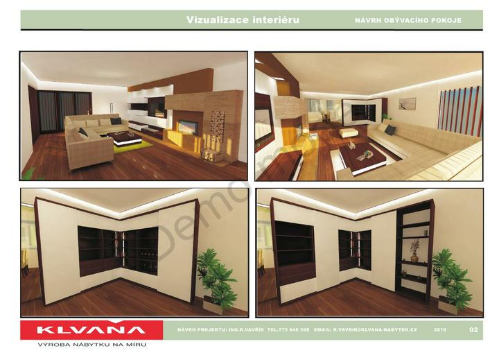 Obývací pokoj - Finalni navrh, variablni knihovnicka s posuvnym panelem...