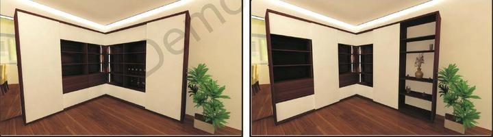 Obývací pokoj - Variabilni knihovnicka s posuvnym panelem...