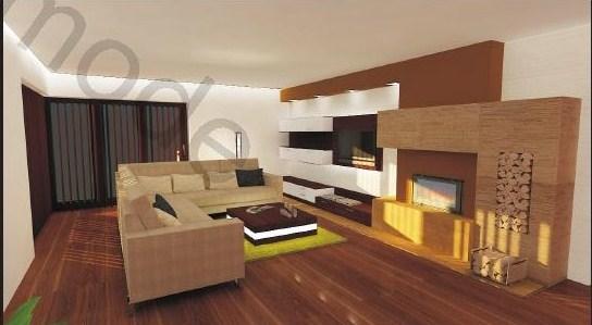 Obývací pokoj - Krb je oblozen kamenem...