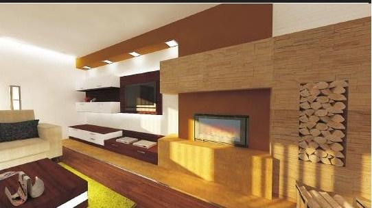 Obývací pokoj - Obyvaci pokoj, krb podelny, oblozen kamenem...