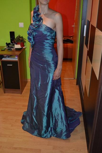 Spoločenské šaty oceľovozelenej farby 34-38 - 36 - Obrázok č. 1