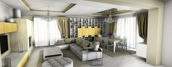 3D obývačky - moderný interier s prvkymi klasického talianského designu