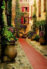 ulička nádherných kvetinových zátiší - škoda, že u nás takéto niečo nikdy nedosiahneme....!