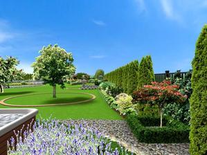 pohlad z terasy na pravú čast záhrady