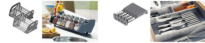 Obývací pokoj a kuchyn ispirace - 2x Blum orga-line stojánek na kořenky do korpusu 400mm objednací číslo ZFZ.40G0I - cena 720Kč