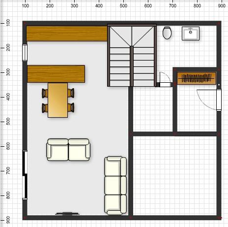 Půdorysy, domy - @ivuss01 vstup do patra z chodby, pod schody v kuchyne lednice a celkove vestavena skrin