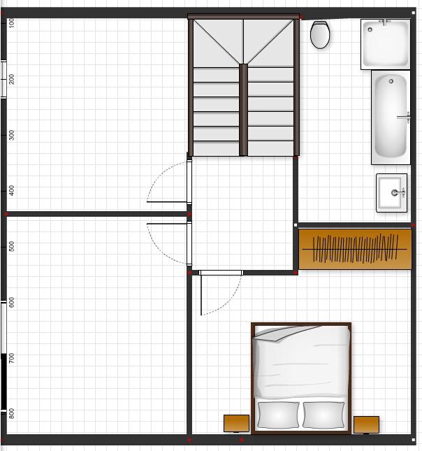 Půdorysy, domy - @ivuss01 jeste by sla zuzit chodba - ze schodu vylezes u pokojicku, takze by sla posunout zed a byla by jeste vetsi skrin v loznici