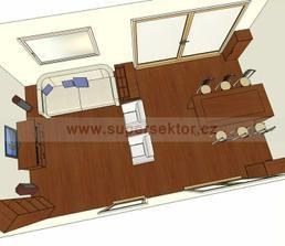 rozmístění nábytku v obývacím pokoji