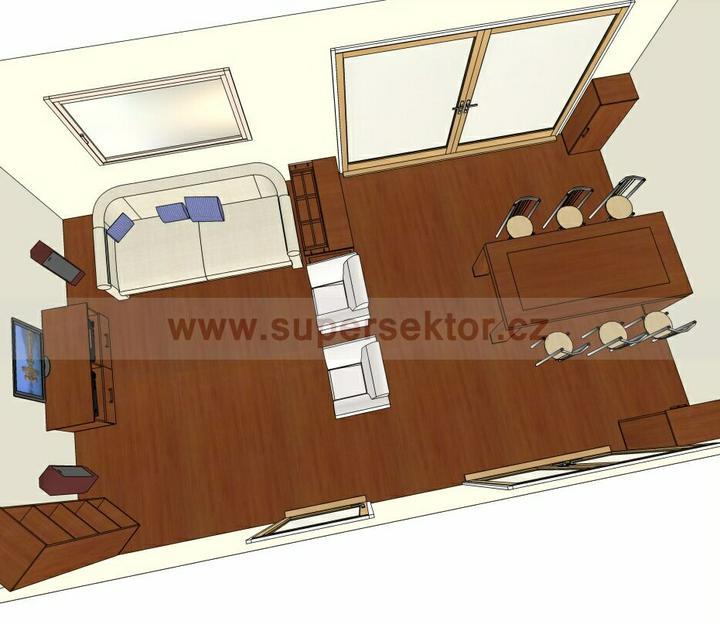 Obývací pokoj, jídelna a kuchyň realita - rozmístění nábytku v obývacím pokoji
