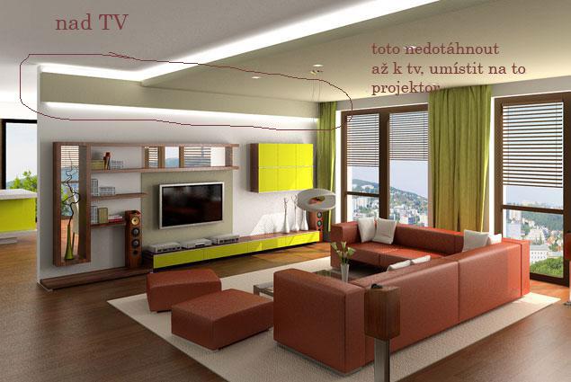 Obývací pokoj a kuchyn ispirace - v podhledu nad TV by melo být schované plátno na promítání