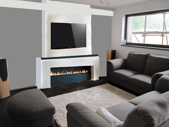 Obývací pokoj, jídelna a kuchyň realita - Trocha fotomontaze :) co rikate? navrhnuto, dle obrazku, který následuje, nevím, zda to odpovídá rozměrově - krb máme 120cm