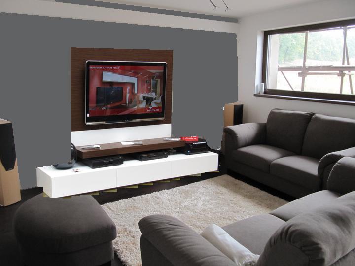 Obývací pokoj, jídelna a kuchyň realita - misto krbu pod tv