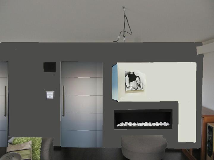 Obývací pokoj, jídelna a kuchyň realita - nebo krb na jine stene