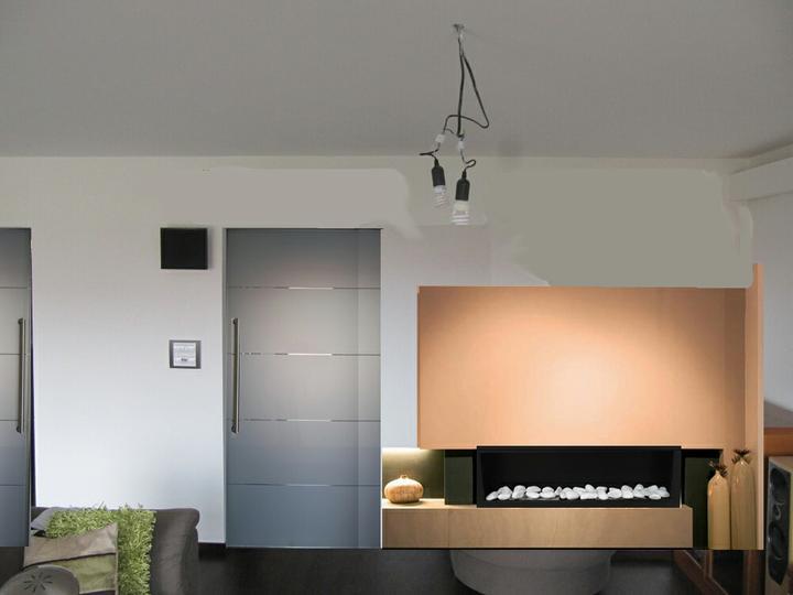 Obývací pokoj, jídelna a kuchyň realita - nebo jiny krb, ale muselo by to byt jeste jinak barevne