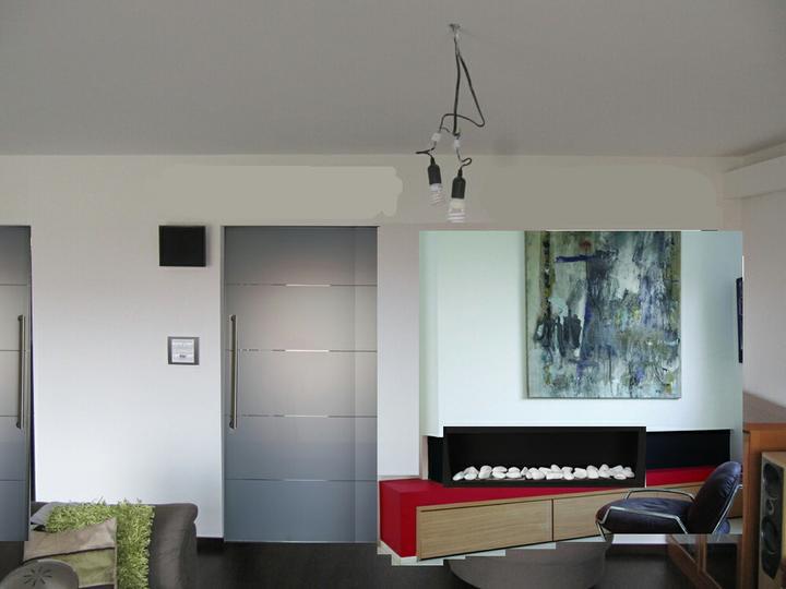 Obývací pokoj, jídelna a kuchyň realita - to cervene by urcite nebylo cervene a obraz by byl urcite take jiny