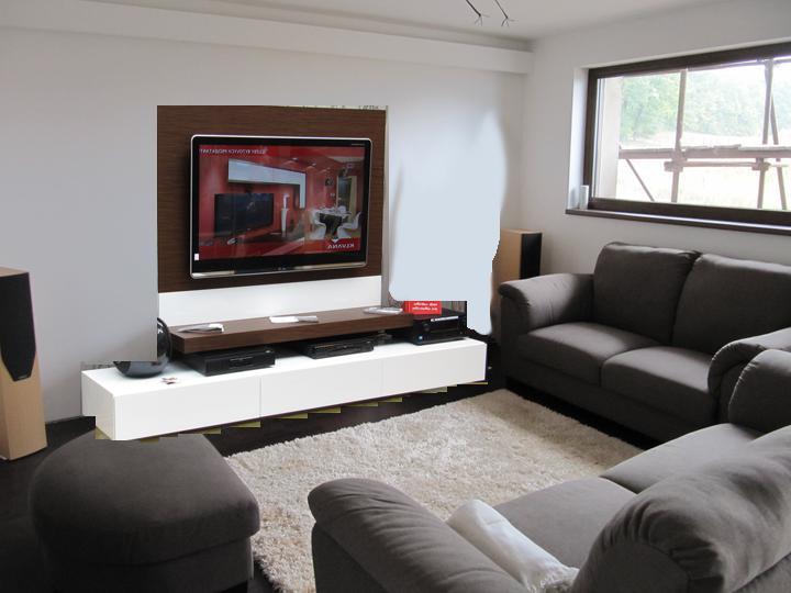 Obývací pokoj, jídelna a kuchyň realita - bila stena