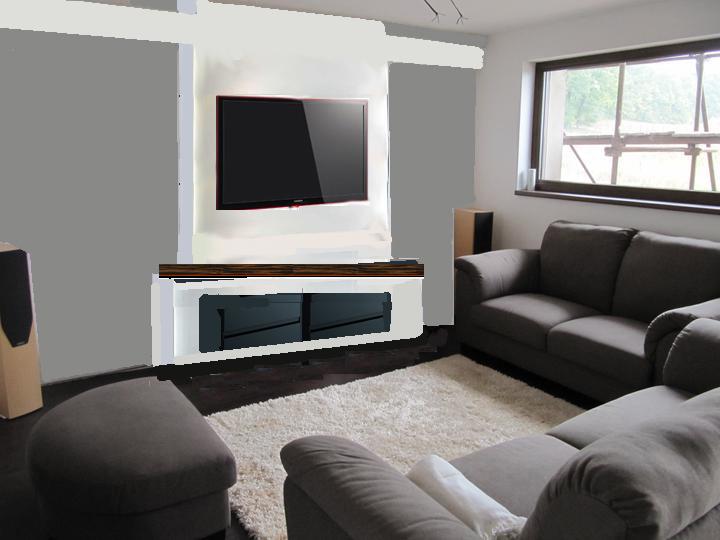 Obývací pokoj, jídelna a kuchyň realita - misto krbu pod tv by mohla byt skrinka