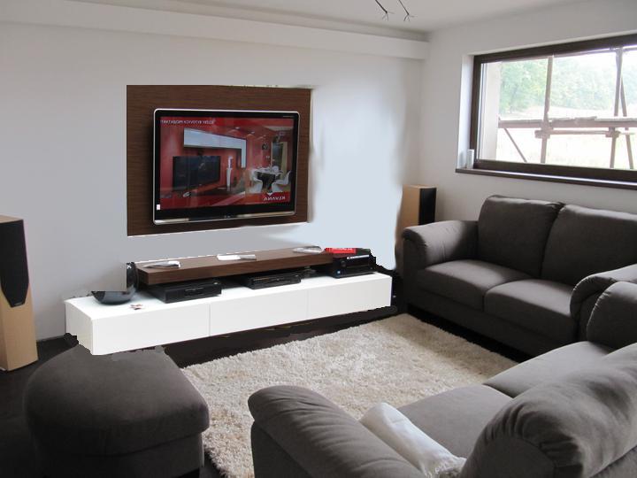 Obývací pokoj, jídelna a kuchyň realita - bila stena, zruseno bile propojeni tv a skrinky
