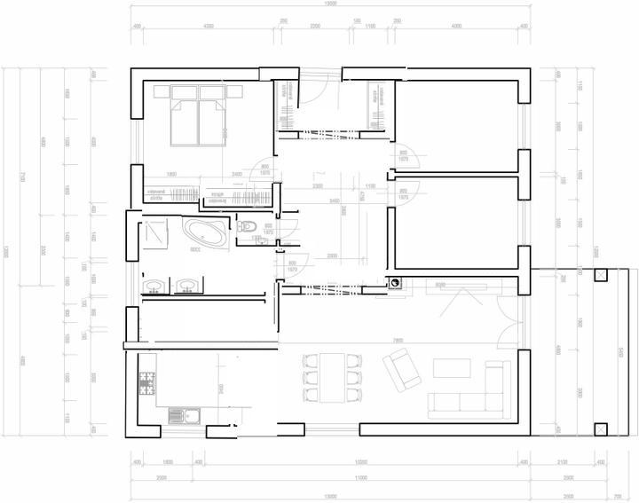 Půdorysy, domy - @sprite001 rozměry domu zachované, velka koupelna, ze ktere by se slo do technicke - vyhoda, že mas vse u sebe, kuchyn, technicka, koupelna. jen vstup by musel byt z jine strany. více ulozneho prostoru v loznici, ve vstupni chodbe, kuchyn tu je delsi