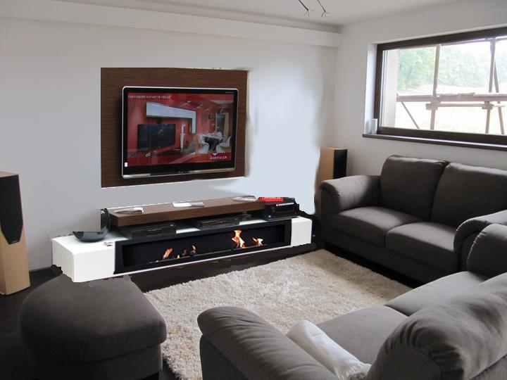 Obývací pokoj, jídelna a kuchyň realita - tady jsou nerealne proporce - krb ma rozmer 140x40cm