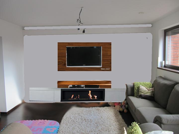 Obývací pokoj, jídelna a kuchyň realita - pohled zepredu, bila skrinka splyva se zdi, ale je tam :)