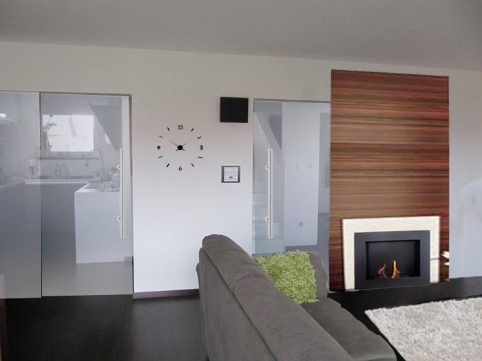 Obývací pokoj, jídelna a kuchyň realita - jiný krb?