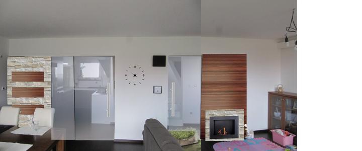 Obývací pokoj, jídelna a kuchyň realita - manžel chce nějak protlačit kamen,.... napada vas kam? :) tady jsem to zkusila, ale nevim ...
