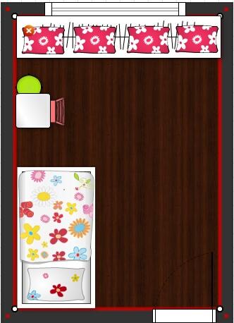 Pokojíček inspirace - varianta 2 - skrin 60cm po cele sirce pokoje pod oknem - vyska 1m, na ni zvysene sezeni
