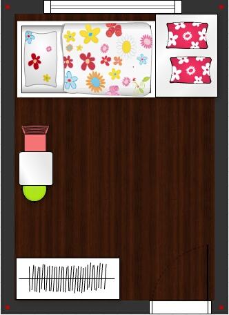 Pokojíček inspirace - varianta 1 - postel pod oknem, zvysene sezeni vedle postele, moznost domecku pod zvysenym sezenim, ci dalsi ulozny prostor