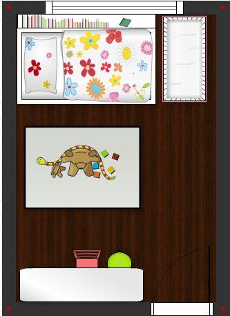 Pokojíček inspirace - rozmístění v pokojíčku, postel 120x200cm, policka na odkladani hracek za posteli, vedle postele misto treba na domecek, koberec s hračkami 120x170, stul vedle dveri, nad stolem skrinky