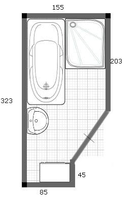 Mala panelakova koupelna - upraveny navrh 4. dvere posuvne, sprcha 80x100cm, vana 170cm