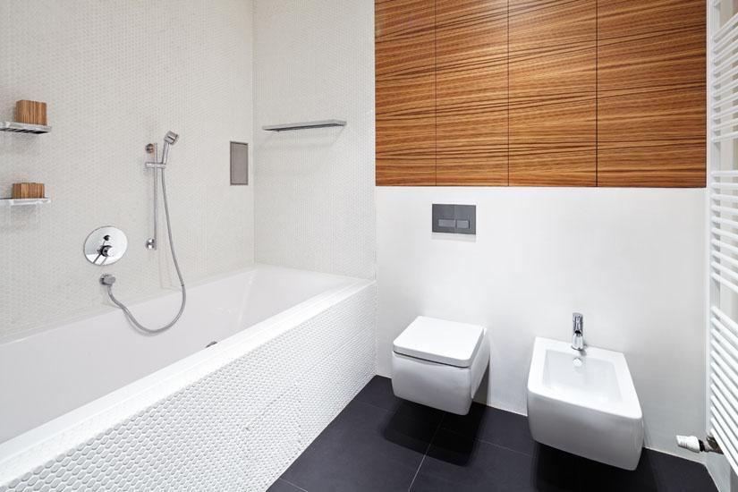 Mala panelakova koupelna - kombinace seda dlazba, bila mozaika